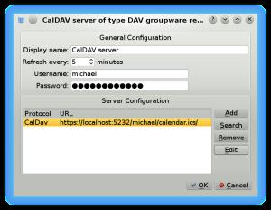 KOrganizer CalDAV configuration