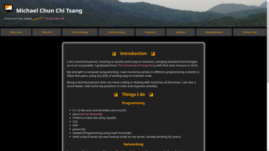 Personal website completely modernised